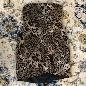 ASOS Strapless Animal Print Dress